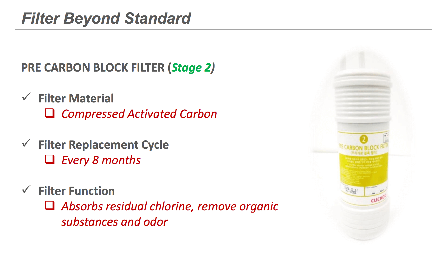 Cuckoo Pre Carbon Filter - Filters Residual Chlorine